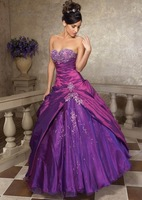 Free Shipping Hot sell Fashion A-line Embroidery Beaded Taffeta Quinceanera Dresses #0140