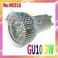 Wholesale GU10 LED Light 3W AC 90-265V Free shipping 3 year Warranty CE ROHS # NE010