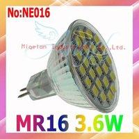 Free shipping 5050 SMD 3.6W LED spot light MR16 with 100% Epistar chip DC 12V 3 year Warranty #NE016