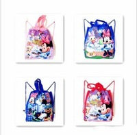 """Micky & Minnie Design Non-woven Material Kids/Children Cute/Cartoon Drawstring Backpack Bag With Handle 15""""X11""""X3.2"""", 8 pcs/lot"""