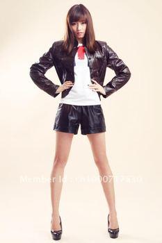 Free shipping ! women's 2012 100% genuine goatskin leather jacket  EX1204