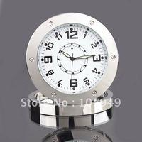 Free shipping Hidden Clock Vedio dvr Camra Stainless Steel Alarm Clock Camera-6612
