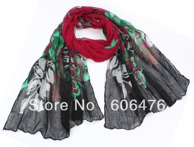 mu833 wholesale crushed voile print fashion 190cm*80cm long flower scarf women's wrap shawl muslim hijab free shipping(China (Mainland))