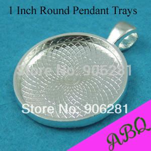 1 Inch Round Pendant Tray, 25mm Cabochon Setting, Round Bezel Pendant Blanks, Blank Cameo Settings(China (Mainland))