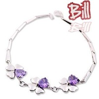 925 Sterling Silver Four Leaves Bracelet 18k Platinum Plated Amethyst Four Leaf  Bracelet Free shipping