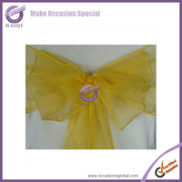 100pcs new yellow sparkle organza chair sashes wedding party banquet decoration by DHL chair bows