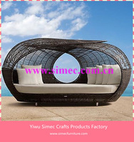 wicker rattan outdoor sun bed SCRB-044