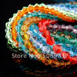 5301,4MM mix color Bicone Crystal Bead Crystal Pendant, glass loose bead,Hole through beads, 1440Pcs/Lot free shipping HA313(China (Mainland))