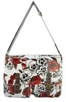 Free shipping Wholesale and retail guaranteed 100%  fashion floral Skulls designed handbag ladies bag women bag QQ1360B-RED