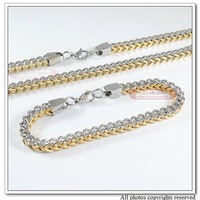 2012 New Arrivals,Mens Stainless Steel Jewelry Set, Bracelet&Necklace Set,Silver&Gold Double Chain,Wholesale&Free shipping WN006