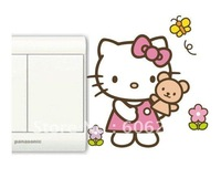 Cute Hello Kitty  Living room Decorative Wall Stickers,Cartoon PVC  Switch Sticker--Free Shipping