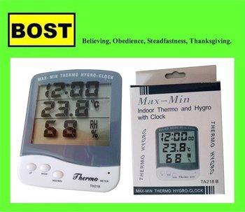 LCD termómetro higrómetro Temperatura y Humedad Reloj TA218B