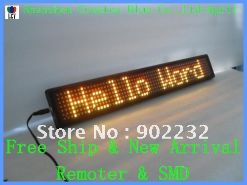 Led display-Indoor-Free ship-New Item-Remote keyboard Sign-7 by 64-Yellow color led,0603SMD-2Y-LED mini display -shop screen(China (Mainland))