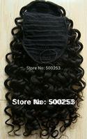 Beautiful 8mm Curl Natural color Indian Virgin Hair Ponytail