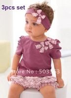 1 sets AMISSA (pink butterfly headband+top+lace pants )3pcs Baby Clothing Set Baby Clothes