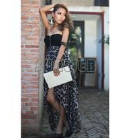 New Women Evening Sexy Chiffon Bustier Maxi Dress Leopard Pattern free shipping 3618