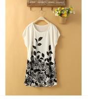 2014 New Fashion Printing Ice Silk Lady dress M L XL XXL XXXL 4xl 5xl 6xl large size women dresses wholesaler dropship