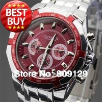 CURREN 8084 Men fashion Brand Watches Stainless Steel boys Wristwatches Analog Quartz Man Fashions Clock Men's Dress Watch (red)
