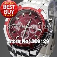 CURREN 8084 Men fashion Brand Watches Stainless Steel boys Wristwatches Analog Quartz Man Fashions Clock Men's Dress Watch (red)