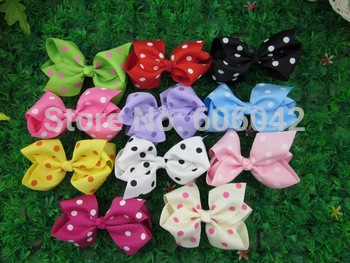 50pcs/lot, 4''baby ribbon polka dot  bows with clip, hairclips,Bow Dots,Girls' hair accessories,Via china post