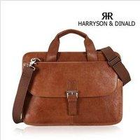 Free shipping , Genuine Leather Fashion men's brifecase,handsome shoulder/Messenger bag ,men handbag,Zipper,dark/light brown