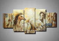 100% handmade abstract horse canvas painting 5 piece canvas art wall art High quality