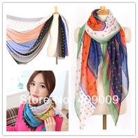 Designer 10pcs/lot mix colour heart print long scarf shawl Europe America design spring muslim shawls