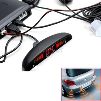 12V LED 4 Parking Sensors System Indicator Display Car Reverse Radar Kit White Free Shipping