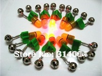 Good quality  50PCs/ twin rod bell with red  tip LED light fishing bait fish alarm Bell fishing product