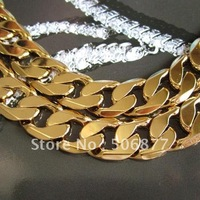 Heavy Men&#39;s 18k Yellow gold filled necklace 20&quot; Curb chain 12mm width Free Shipping