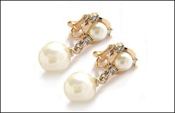14K Gold plated Fashion Clip Earrings With Pearl Free shipping Pearl Jewelry#YB043(China (Mainland))