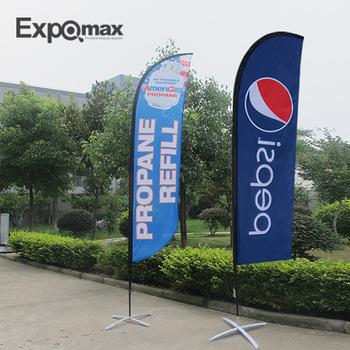 3.6m  Convex  feather banner flying banner outdoor  with printing and steel base, water bladder and Chromed coated ground stake