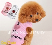Free shipping I Love Mommy Dog Summer Tshirts  Pet Fashion Vest Hotsale Clothes  Pink White S M L XL XXL Mixed Wholesale Price