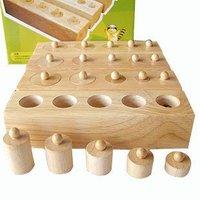 Candice guo! Hot sale wooden toy Montessori education cylinder socket baby teaching toy math development senses teaching aids