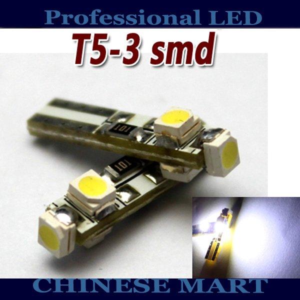 T5 74 3-3528SMD DASHBOARD LED CAR Auto Signal LIGHT WHITE 100pcs/lot free shipping #G02055(China (Mainland))