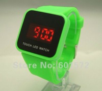 Freeshipping 10pcs/lot wholesale fashion design touch screen face,silicon band, led digital movement,12color available led watch