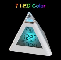 NEW Pyramid Shape Glowing LED Color change Digital alarm clock