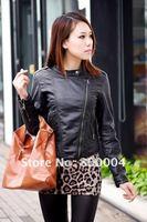 Free shipping ladys pu black Motorcycle jacket  with metal zipper