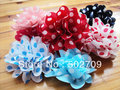 Free shipping! 30pcs/lot 7cm garments shoes hats hair accessories hand made printed polka dot diy fabric flower