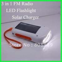 Free Shipping Wholesale solar charger, FM radio  solar torch  3 in 1 LED solar flashlight  8pcs/lot