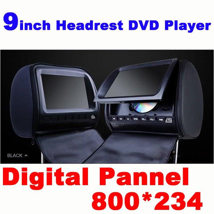 9-zoll-kopfstütze dvd-player mit reißverschluss/usb/SD/Spiel versandkostenfrei Schlitz/ir/fm-funktion