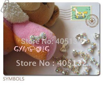 MD-60 3D 50pcs/bag Small All Crystal Rhinestone AB Metal Bow Nail Decoration Nail Art Decoration