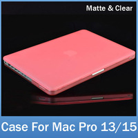 Laptop Rubberized Snap on Hard Shell Full Cover Case For MacBook Pro 13 15 inch Clear Transparent Crystal and Frosted Matte Type