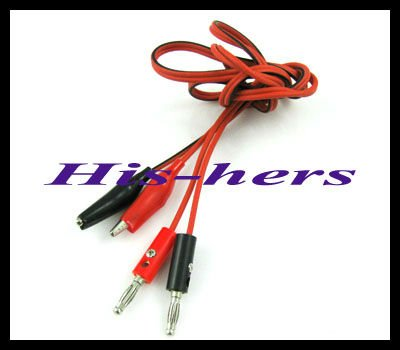 Free shipping Crocodile Alligator Clips Test Leads to banana plugs adapter cable 1m(China (Mainland))