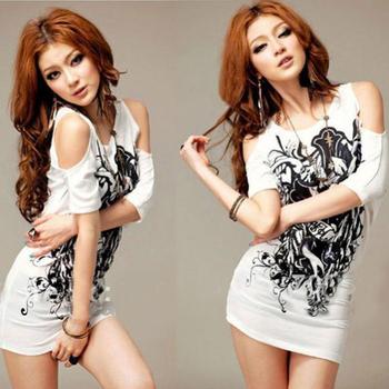 Sexy Korea Women Ink Floral Off Shoulder Mini Dress Short Sleeve Shirt Dress Casual T-Shirt  WE0303
