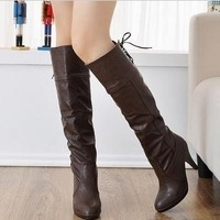 Winter Thigh High Boots /Over The Knee Boots Shoes Snow Boots Shoes For Women Black Coffee Gray  Big code 35 36 37 38 39