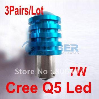 Wholesale 3Pairs/ Lot 2x DC 12V-30V 1156 BA 15S 7W Cree Q5 Led Car Turn/ Indicator/ Reverse/ Brake Light Bulb Lamp Free Shipping