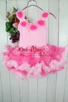 2014 Infant Petti Tutu Dress For Girl Pink Lace Party Dress With Bowknot Age Baby:1-6Y Chiffon+Cotton Sample Support 5 sets/lot