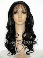 24inch ladies sexy fashion long hair front lace wigs Jet Black Long Wavy #1 Lace Front Wig free shipping