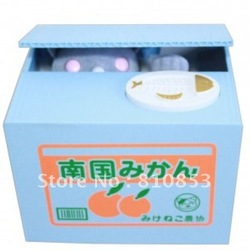 Free shipping Automated Cat Steal Coin Piggy Kitty Saving Money Box Bank, Kids Gift,Novelty Toys Lc-01-191(China (Mainland))